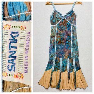Santiki Maxi Boho Tie Dye Spaghetti Strap Dress S